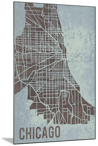 Chicago Street Map-Tom Frazier-Mounted Giclee Print