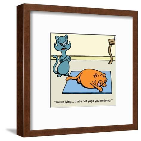 Cat Yoga - Antony Smith Learn To Speak Cat Cartoon Print-Antony Smith-Framed Art Print