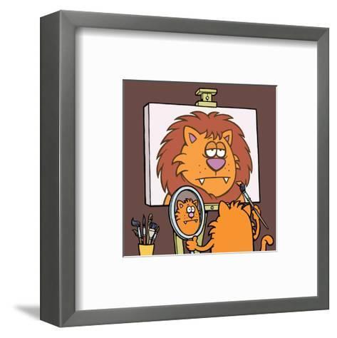 Self Portrait - Antony Smith Learn To Speak Cat Cartoon Print-Antony Smith-Framed Art Print
