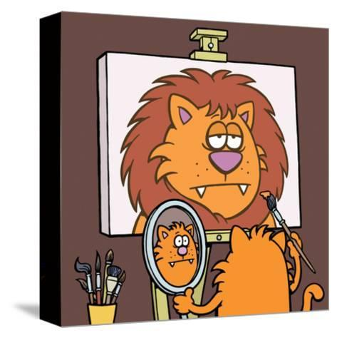 Self Portrait - Antony Smith Learn To Speak Cat Cartoon Print-Antony Smith-Stretched Canvas Print