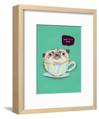 Pug in a mug - Hannah Stephey Cartoon Dog Print-Hannah Stephey-Framed Art Print