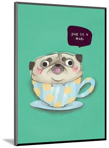 Pug in a mug - Hannah Stephey Cartoon Dog Print-Hannah Stephey-Mounted Art Print