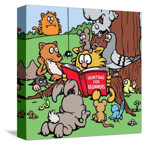 Hunting for Beginners - Antony Smith Learn To Speak Cat Cartoon Print-Antony Smith-Stretched Canvas Print
