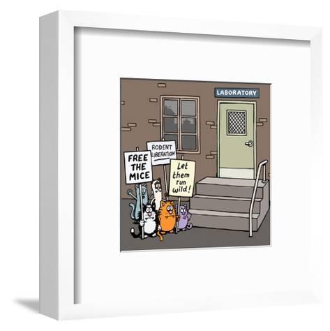 Laboratory - Antony Smith Learn To Speak Cat Cartoon Print-Antony Smith-Framed Art Print