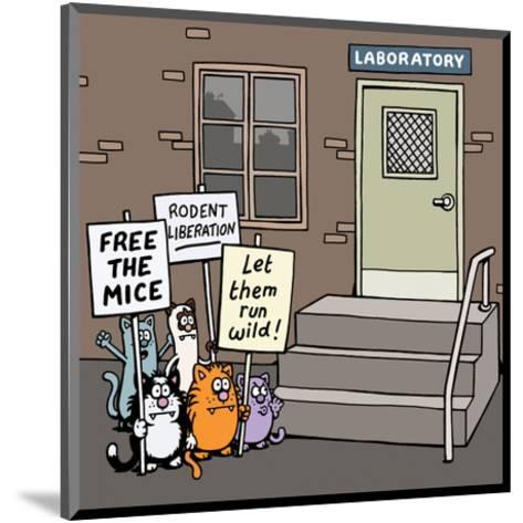 Laboratory - Antony Smith Learn To Speak Cat Cartoon Print-Antony Smith-Mounted Art Print