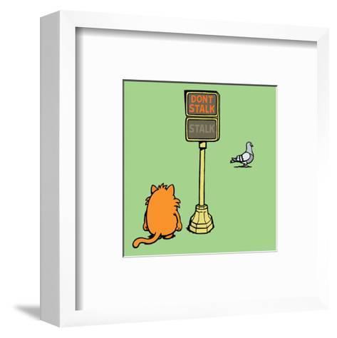Dont Stalk- Stalk - Antony Smith Learn To Speak Cat Cartoon Print-Antony Smith-Framed Art Print
