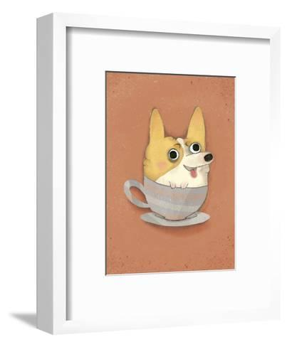 Dog in a teacup - Hannah Stephey Cartoon Dog Print-Hannah Stephey-Framed Art Print