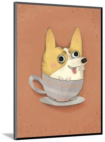 Dog in a teacup - Hannah Stephey Cartoon Dog Print-Hannah Stephey-Mounted Art Print