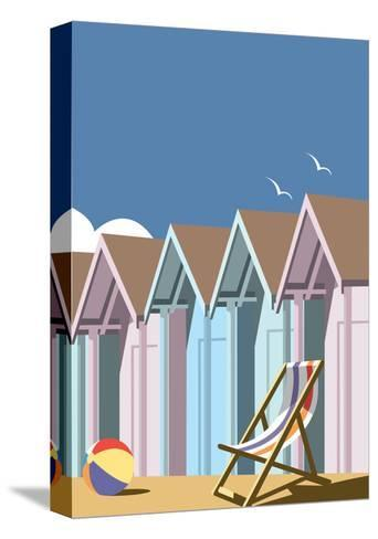 Beach Huts Close Up - Dave Thompson Contemporary Travel Print-Dave Thompson-Stretched Canvas Print