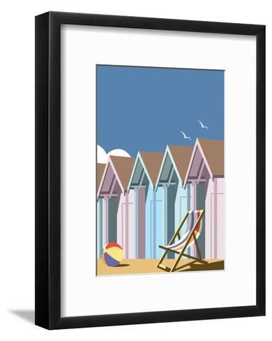 Beach Huts Close Up - Dave Thompson Contemporary Travel Print-Dave Thompson-Framed Art Print
