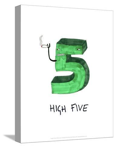 High Five - Tom Cronin Doodles Cartoon Print-Tom Cronin-Stretched Canvas Print
