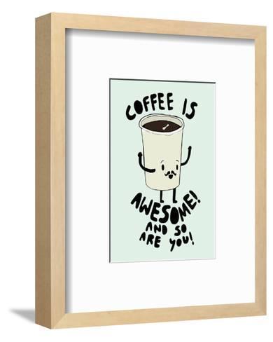Coffee Is Awesome - Tom Cronin Doodles Cartoon Print-Tom Cronin-Framed Art Print