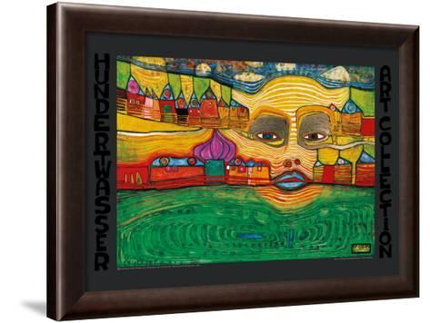 IRINALAND OVER THE BALKANS-Friedensreich Hundertwasser-Framed Art Print