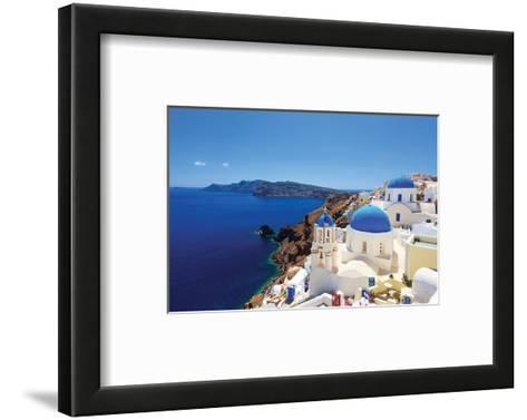 Blue Domed Santorini Churches--Framed Art Print