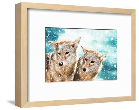 Coyote Pair & Blue Winter Sky--Framed Art Print