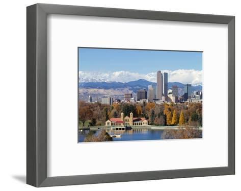 Denver Park Lake and Rockies--Framed Art Print