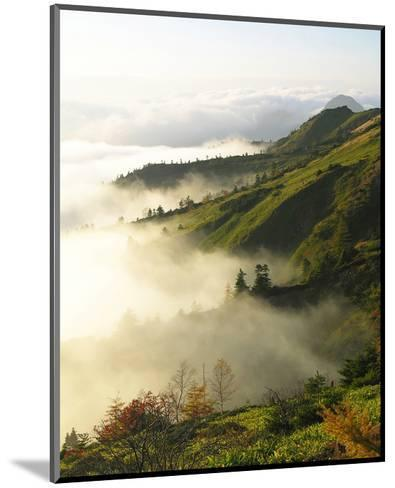 Foggy Japanese Valley in Fall--Mounted Art Print
