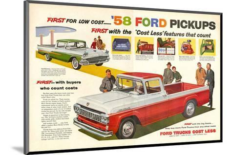 Ford 1958 `58 Ford Pickups--Mounted Art Print