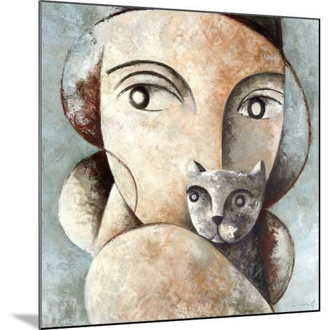 Cat and Woman-Didier Lourenco-Mounted Art Print
