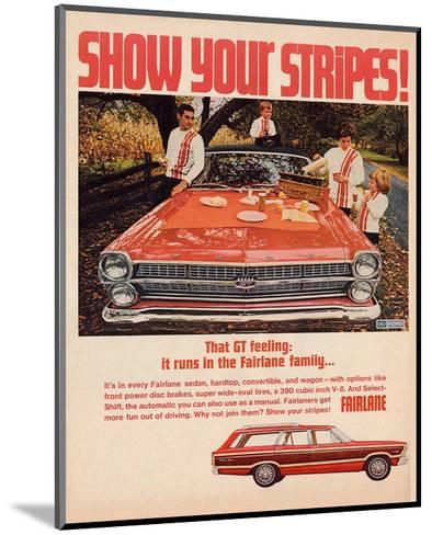 Ford 1967 Fairlane GT -Stripes--Mounted Art Print