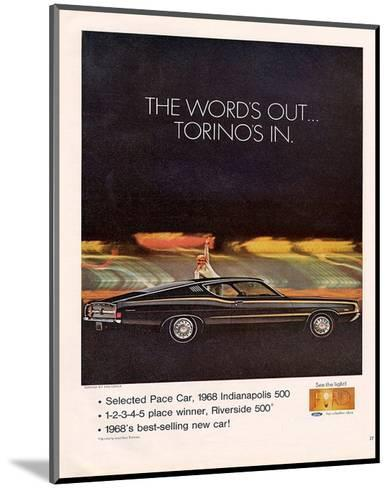 Ford 1968 Torino's In-Pace Car--Mounted Art Print