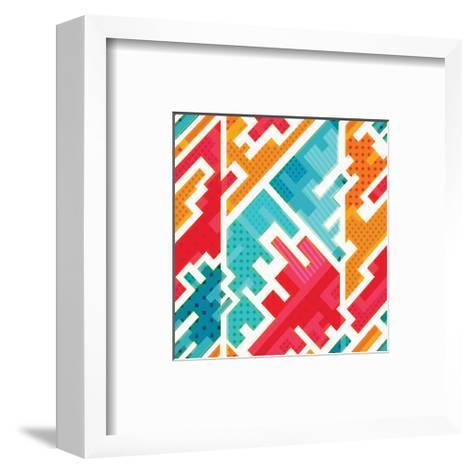 Funky Red Blue Beige Pattern--Framed Art Print