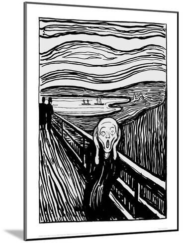 The Scream (Black and White)-Edvard Munch-Mounted Giclee Print