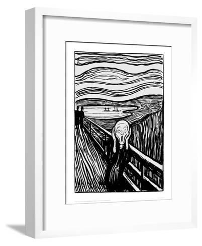 The Scream (Black and White)-Edvard Munch-Framed Art Print