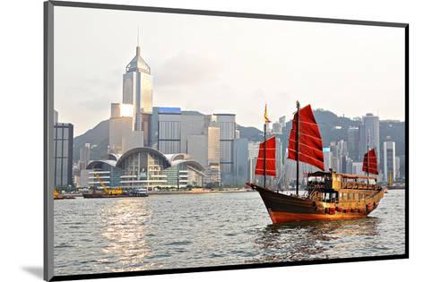 Hong Kong Harbour Tourist Junk--Mounted Art Print