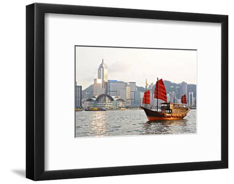 Hong Kong Harbour Tourist Junk--Framed Art Print