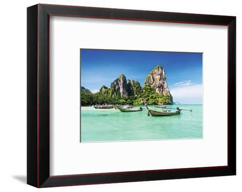 Longtale Boats on Thai Beach--Framed Art Print