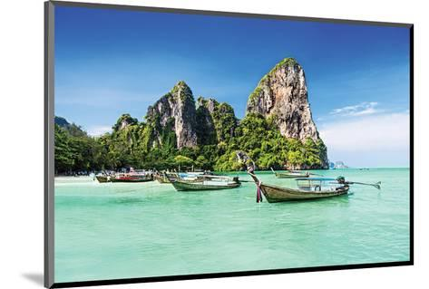 Longtale Boats on Thai Beach--Mounted Art Print