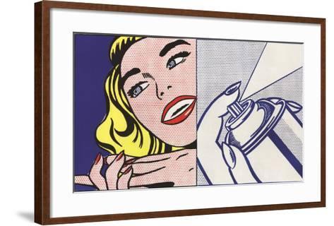 Girl and Spray Can-Roy Lichtenstein-Framed Art Print