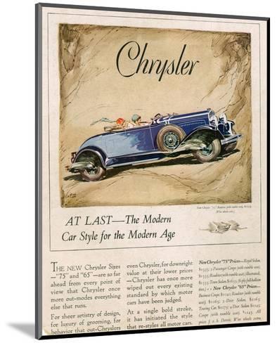 New Chrysler 75-The Modern Car--Mounted Art Print