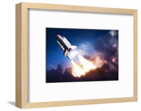 Space Shuttle & Clouds At Dusk--Framed Art Print
