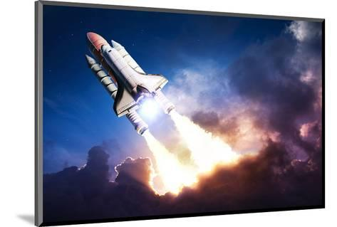 Space Shuttle & Clouds At Dusk--Mounted Art Print