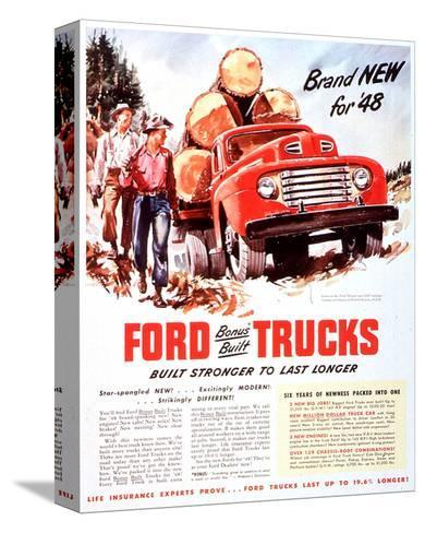 1948 Ford Truck-Built Stronger--Stretched Canvas Print