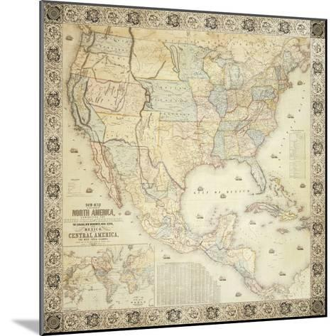 Map Of North America, 1853-Jacob Monk-Mounted Giclee Print