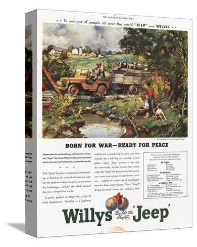 Willys Jeep - Born for War--Stretched Canvas Print
