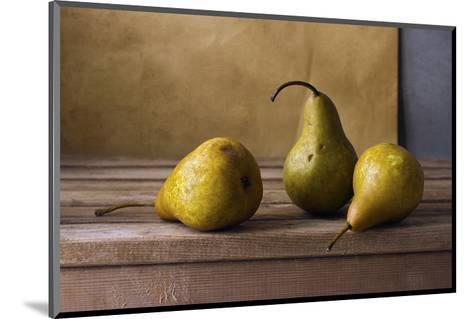 Three Pears on Wooden Table--Mounted Art Print