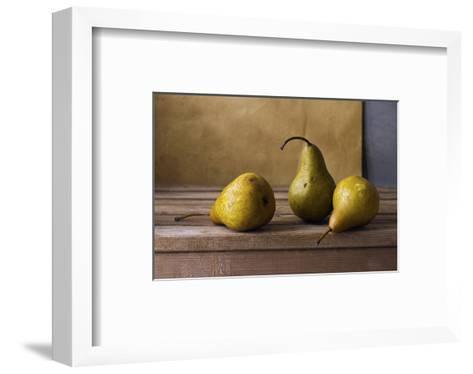 Three Pears on Wooden Table--Framed Art Print