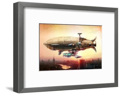 Graf Zepplin Fantasy Dirigible--Framed Art Print