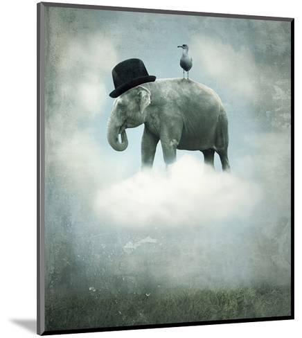 Elephant on Cloud with Hat--Mounted Art Print