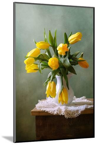 Yellow Tulips in a Vase--Mounted Art Print