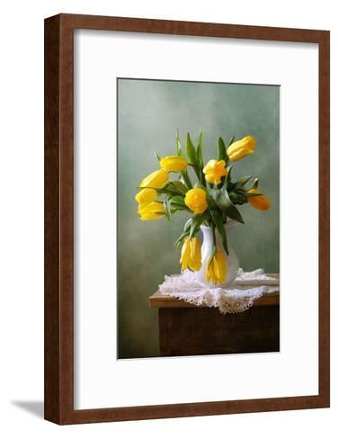 Yellow Tulips in a Vase--Framed Art Print
