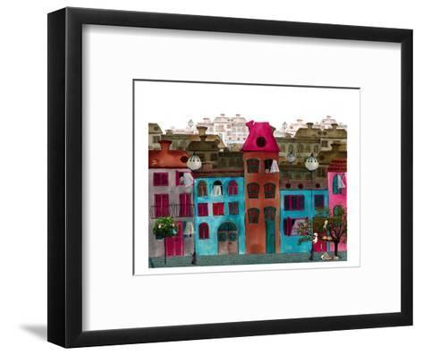 Whimsical Colorful City Street--Framed Art Print