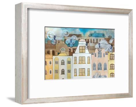 Whimsical City & Light Bulbs--Framed Art Print