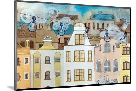 Whimsical City & Light Bulbs--Mounted Art Print