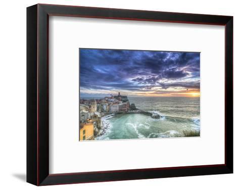 Vernazza Fishing Village Sunset--Framed Art Print