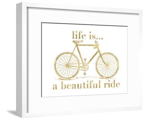Bicycle Life Is Beautiful Ride Golden White-Amy Brinkman-Framed Art Print